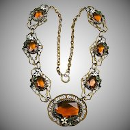 Early Vintage Czech Topaz Glass Necklace  Filigree  Enamel  RARE  A Beauty