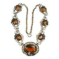 Early Vintage Czech Topaz Glass Enamel Necklace