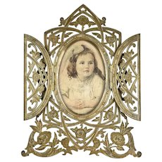 English 19th C Double Door Bronze Photo Frame
