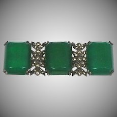 Vintage Art Deco Sterling Chrysoprase Marcasite Bar Pin  Top Quality RARE