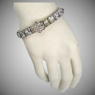 Fab Art Deco DiamonBar Wide Sterling Silver Square Crystal Buckle Bracelet  RARE  A Beauty!!