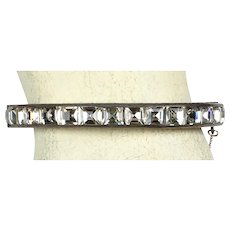 Fab Art Deco Sterling Silver Square Crystal Bangle Bracelet   Sparkle  RARE