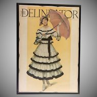Large Vintage Custom Framed Magazine Cover  1916  The Delineator  In Color