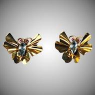 Vintage Tiffany & Co 14K Rose Gold Butterfly Bug Earrings Aqua Marine Ruby