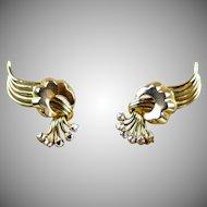 Retro 18K Rose Gold Diamond Clip On Earrings