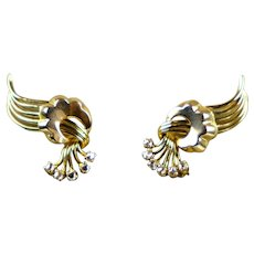 Retro 18K Rose Gold Diamond Clip On Earrings