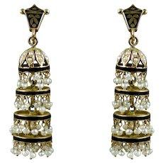 Long Dangle Art Deco14K Gold Earrings Seed Pearl Enamel