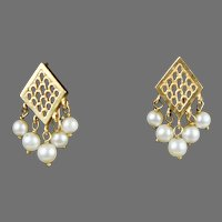 Lovely Vintage14K Gold Dangle Earrings Pearls  Pierced