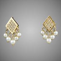 Lovely Vintage14K Gold Dangle Earrings Pearls  Pierced