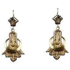 Victorian Long 14K Gold Pierced Dangle Earrings