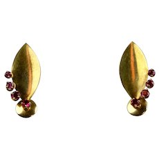 Retro 14K Rose Gold Ruby Earrings