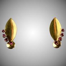 Retro 14K Rose Gold Ruby Earrings