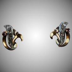 Stunning Retro 14K Rose Gold Rose Diamond Ruby Earrings