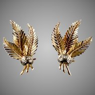 Stunning Retro 18K Rose Gold Diamond Leaf Earrings