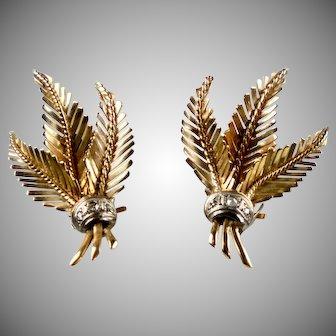 Stunning Retro 18K Rose Gold Diamond Leaf Earrings