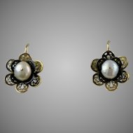 Vintage 14K Rose Gold Filigree Pearl Flower Earrings