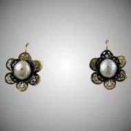Vintage 14K Rose Gold Filigree Pearl Flower Earrings