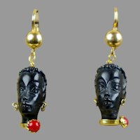 Vintage Italian Blackamoor 18K Gold Ebony Dangle Earrings Pierced