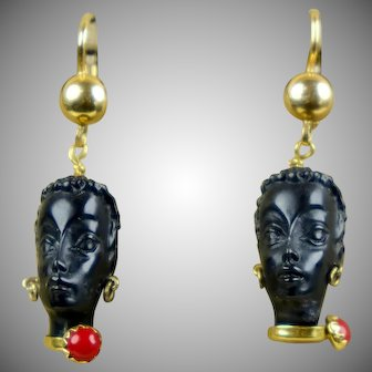 Vintage Italian Blackamoor 18K Gold Ebony Dangle Earrings Pierced