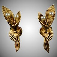 Stunning Retro 14K Rose Gold Pearl Bouquet Earrings