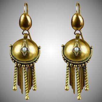 English Victorian Long 9K Gold Pierced Dangle Earrings