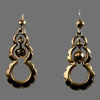 English Victorian Long 9K Gold Pierced Dangle Earrings