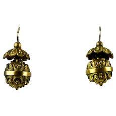 English Victorian Etruscan Revival 9K Gold Pierced Dangle Earrings