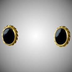 Vintage 14K Rose Gold Black Onyx Stud Earrings