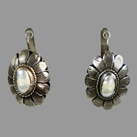 Vintage Large Silver Pearl Drop Earrings