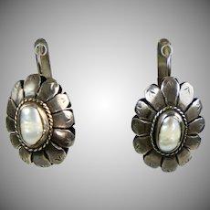 Vintage Large Silver Pearl Drop Earrings
