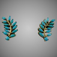 Vintage GF Turquoise Leaf Branch Earrings
