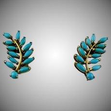 Vintage GF Turquoise Leaf Branch Earrings