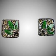 Vintage Art Deco Silver Paste Enamel Stud Earrings