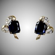 Vintage Retro Silver Unsigned Mazer Earrings Blue & White Stones