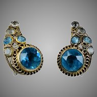 Vintage Silver Jeweled Hobe Earrings Open Backed Aqua & White Crystals