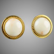 18K Gold White Angel Skin Coral Button Earrings