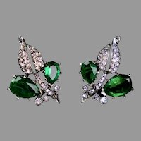 Emerald & Diamond Paste Earrings by Kramer