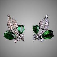 Emerald & Diamond Paste Earrings by Kramer