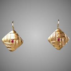 Art Deco 14K Gold Ruby Drop Earrings