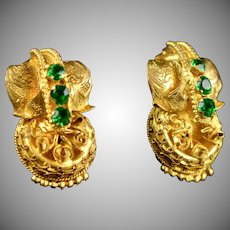 Victorian Etruscan Revival GF Paste Earrings