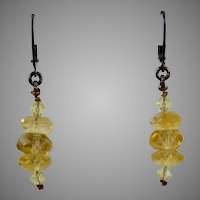 Sterling Silver Faceted Citrine Drop Pierced Earrings