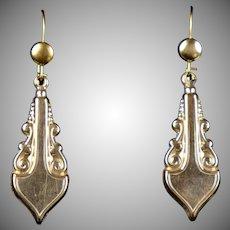 Victorian Long GF Pierced Dangle Earrings
