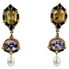 Vermeil Amethyst Citrine Pearl Long Drop Earrings