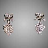 Art Deco Silver & Gold Paste Heart Drop Earrings