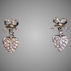 Art Deco Silver & Gold Paste Heart Drop Earrings