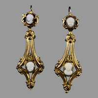 Victorian Long Day Night Cameo Earrings