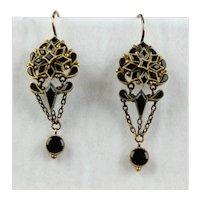 Lovely Victorian 14K Gold Onyx Drop Earrings