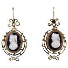 Victorian 14K Gold Stone Cameo Drop Earrings