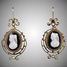 Victorian 14K Gold Stone Cameo Drop Earrings