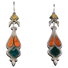 Scottish Victorian Sterling Agate Earrings